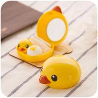 Small yellow duck contact lenses box lenses companion box with mirror