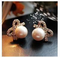 2014 Fashion Pearl Earring Accessories Stud Earring Accessories Gentlewomen Rhinestone Pearl Earrings D210