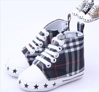 Free shipping!2014 New plaid canvas shoes baby toddler baby shoes soft bottom shoes zipper 11/12/13cm
