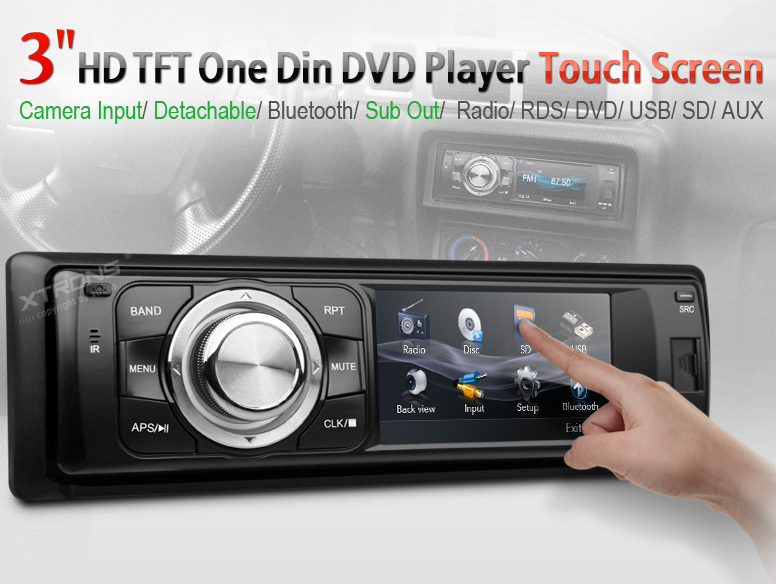 3inch Digital Touch Screen 1 Din Car DVD Player Single Din Car Radio Stereo detachable panel bluetooth subwoofer(China (Main