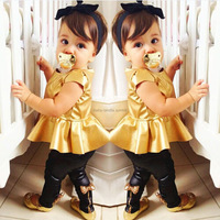 Wholesale 5Sets 2014 Summer Girls Yellow Clothing Suits Children Short Sleeve T Shirts Tops+Bow Trousers 2PC Sets