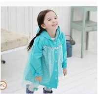 50pcs/lot DHL Free Frozen Raincoat Cartoon Picture Frozen Raincoat Pink Blue Elsa Rain Wear