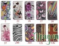 1pcs UK US flag Butterfly Sakura Flower zebra Flip stand card wallet leather bags case skin cover For LG Optimus L70 L90