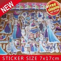 ALL Free Shipping Mix 50kinds 1000 Sheets puffy FROZEN sticker(7.5*21cm) Sticker /Children Fashion Decoration Stickers