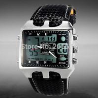 OHSEN 3ATM Big dial watch dual time-zones Quartz Sport  Dive Watch men sports watches free shipping
