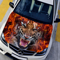 Car styling HD inkjet Ferocious Burning Tigers Hood stickers car Waterproof  Protective film  Animal decals 135*150cm