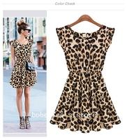 Summer 2014 New Women Sexy Casual Leopard Print O-Neck Sleeveless Dress Ruffles Novelty Chiffon Mini Dress