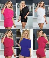 Women Summer Dress 2014  one shoulder  Mini red/black/white/blue Dress Vestidos  club dress