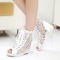 2014 summer boots women's shoes medium-leg cutout boots net boots elevator wedges sandals lace summer open toe shoe