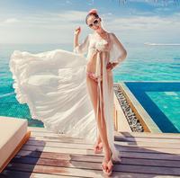 Heart neon maldives chiffon cardigan sexy goddess white beach dress dress trailing big robes free shipping