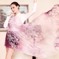 2014 Autumn Winter Long Silk Scarf Shawl Fashion Female Long 100% Mulberry Silk Scarf Summer Thin Silk Chiffon Beach Scarf Wraps