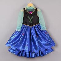 2014  girls fashion  frozen elsa & anna princess dresses children gauze long sleeve one piece kids summer clothing
