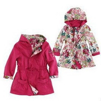 2014 Autumn Kids Jackets & Coats France Brand Children Outerwear & Coats Designer Floral Teenager Girls Reversible Trench Coat