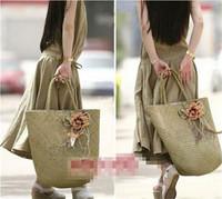Hobo huge flower natural straw knitted handmade women shoulder bag handbag women