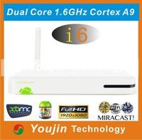 Hot-selling HD Media Player WiFi Amlogic 8726-MX Cortex A9 Dual core 1.5GHz 1GB RAM 4GB Flash I6