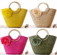 candy handmade straw knitted women handmade purse shoulder bag hobo handbag new