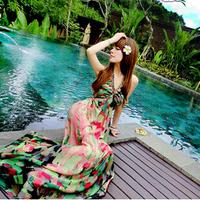 2014 New bohemia long spaghetti strap pad oil painting print silk chiffon one-piece dress expansion bottom beach dress