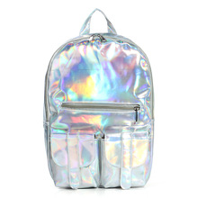 2014 New Arrival !!!  Silver Hologram Laser Men/Women Pu Leather Backpack  Multicolor Silver College School Bags Travel Bag(China (Mainland))