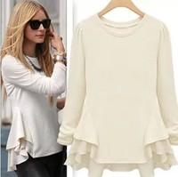 New 2014 Summer Fashion Women Blouses Sheer Shirts Casual Ladies Tops For Women Clothing Patchwork Chiffon Vestido Blusas