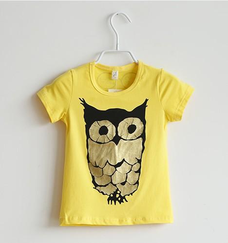 2014 Baby boy girl t shirt yellow gray short sleeve cotton candy color owl t shirt kids print t shirt children t shirts 6pcs/lot(China (Mainland))