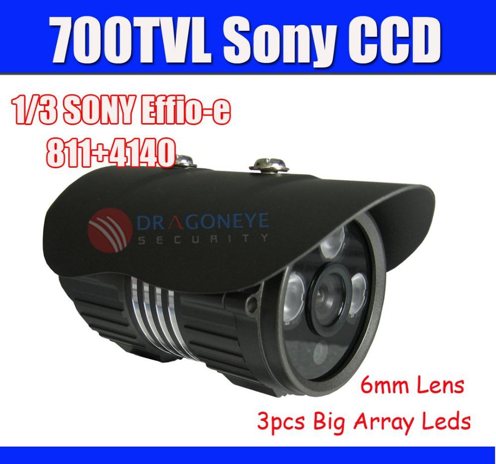 Sony CCD Camera 700TVL IR CCTV Camera SONY Effio-e 6mm Lens, 3pcs Big Array Leds 30m IR Range Security Outdoor Camera(China (Mainland))