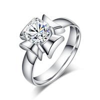 Beautifully chic fashion titanium steel ring zircon ring female flowers Jewelry