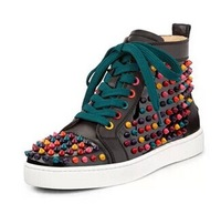 2014 Brand Black Multi Men Black sneakers Genuine Leather Lace up high top Colorful Men Spike Shoes  Autumn Ankle Boots