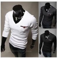 Hot! Hot Casual Men's long sleeve T-shirt casual cool high quality Pocket T shirt men Size M-XXL Color dark gray black white