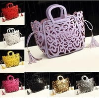 Brand New 2014 Women Handbags High-end Bag top quality 8 candy colors Tassel Hollow Out shoulder bags women fashion bags.
