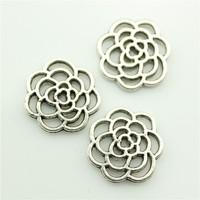 120pcs/lot 16mm 2 colors antique silver, antique bronze plated flower charm