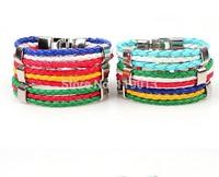 2014 Brazil World Cup soccer multinational commemorative woven leather bracelet jewelry wholesale