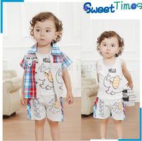 2014 children's clothing summer child set baby summer short-sleeve male child set pure cotton vest piece set