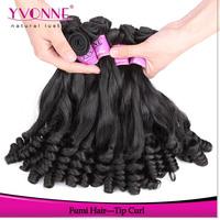 3Pcs/lot Tip Curly Virgin Hair,New Fashion Fumi Human Hair,Top Quality Aliexpress Yvonne Hair,Natural Color 1B
