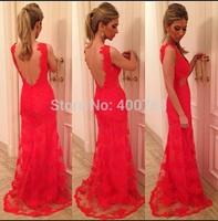 New Arrival  vestido de Festa V Neck Backless Red Lace Long Prom Dress 2014 m Custom Made