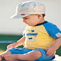 New 2014 summer baby boy clothing sets kids cotton Crocodile boy's t shirt+short 2pcs clothing set for 2-3-4 year Free shipping