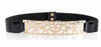 Elastic Embellished Metal hollow out Metallic Bling Gold 3.4 wide Skinny Wide Obi Belt Corset Free Shipping JZ051711