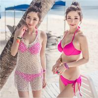 Biquini Push Up Bikini Women's Han Edition Bikini Net Unlined Upper Garment Three-piece Steel Gathered Swimsuit Small Chest Big