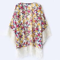 2014 Summer New Style Women Fashion Personality Floral Print Tassels Kimono Tops Shirts Ladies Elegant Vintage T-shirt Cardigan
