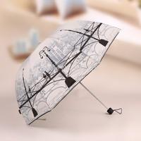 2014 Newest Three-Folding Creative Sunny and Rainy Women's Umbrella Printing Sunny UV Umbrellas Rain Gear Freeshipping