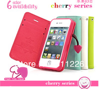 wholesale Deere cherry series leather for i9500 Galaxy s iv