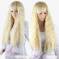 Wholesale price FREE P&P>>>Women's Fashion Curly Wave Blonde Hair Cosplay Full Long Wigs