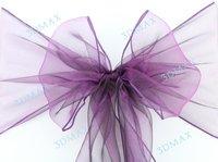 dark purple chair sashes new  Wedding Organza Chair Cover Sashes Sash Party Banquet Decor Bow x25