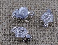 free shipping wholesale 10pcs Necklace bracelet clasp 925 silver plated plum flower clasp D18/