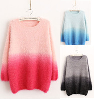 2014 New Woman Sweater Winter Knitted Mohair Candy Color Long Sleeves Blusas De Inverno O-Neck Slim Casual Pullovers Sweaters