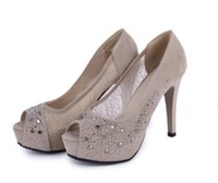 Free Shipping 2014 Hot Sale Net yarn professional fish mouth high-heeled willow spikes thickness diamond single shoes