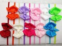 Retail 1PCS  Baby Girl Kids Bowknot with Skinny Elastic Interchangeable Loop HeadbandsHair Accessories