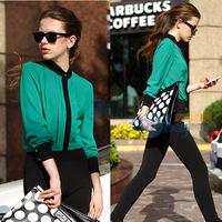 Women Blouse 2014 New Spring and Autumn Women Causal Shirt Fashion Patchwork Shirt Women