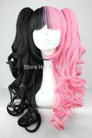 Wholesale price FREE P&P>>>VOCALOID Miku Long pink black mix Bob wig lolita Anime Split Type 2 Clip-in wigs