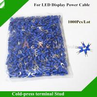 1000Pcs/Lot LED Display Power Cable 2 Pin U Shape Blue Color Cold-press Terminal Stud