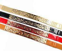 Designer Belts Fashion 2014 Metal Hollow out Metallic Bling Gold 2.5cm wide PU belt  3 kinds color,  Free Shipping JZ051713